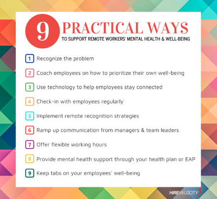 9 Practical Ways to Support Mental Health & Well-being of Remote Workers During COVID19_Hire Velocity