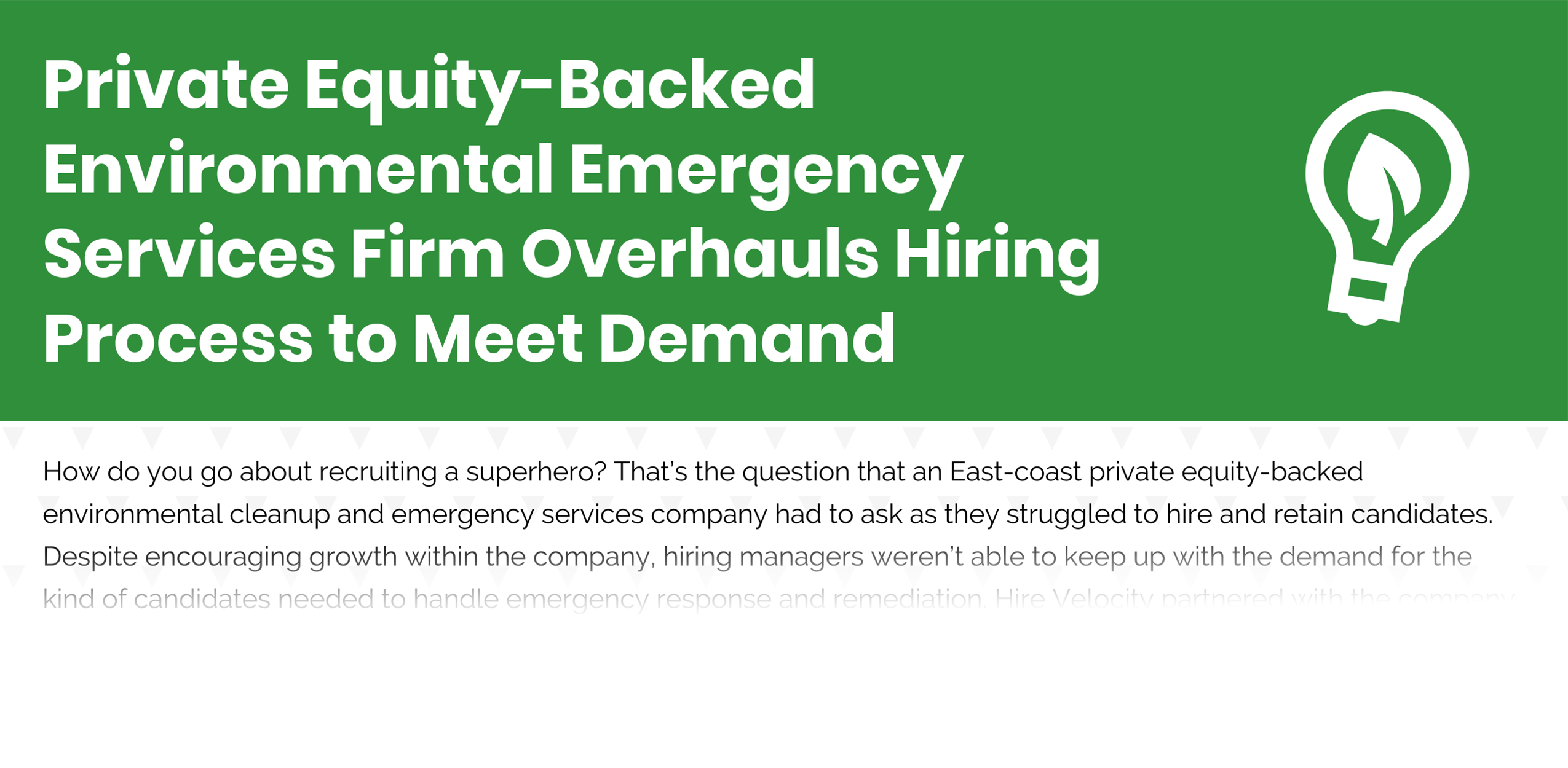 Private Equity-Backed Environmental Emergency Services Firm - Case Study